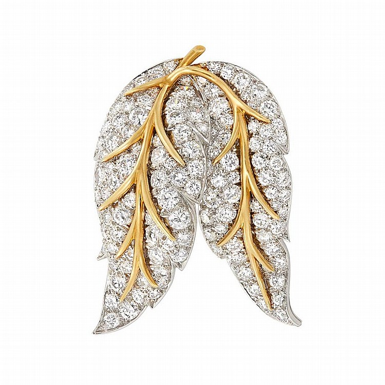 Platinum, Gold and Diamond Leaf Clip-Brooch, Tiffany & Co.