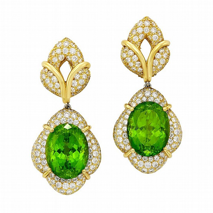 Pair of Gold, Peridot and Diamond Pendant-Earclips, Henry Dunay