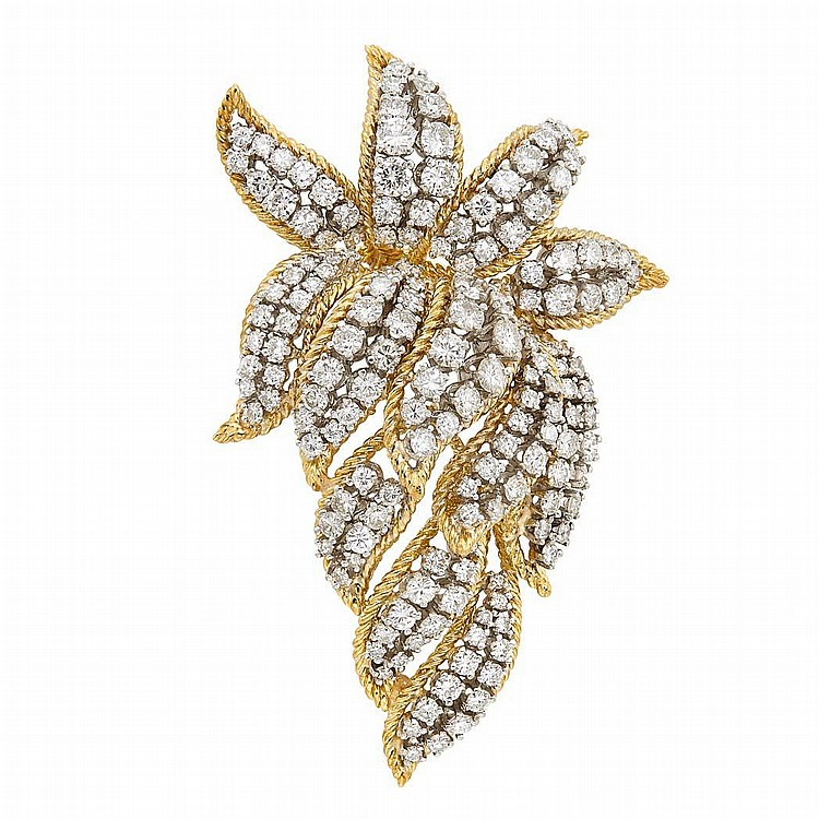 Two-Color Gold and Diamond Clip-Brooch