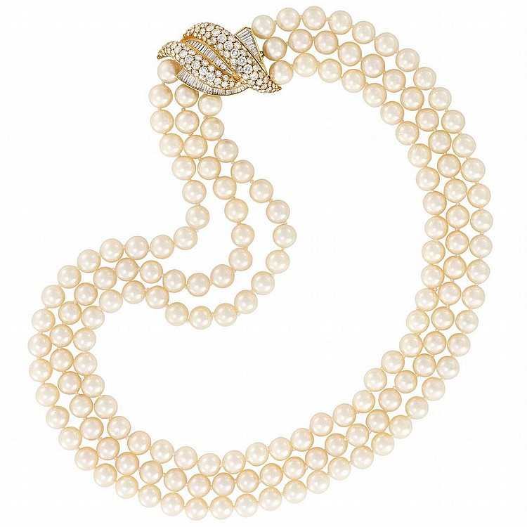 Triple Strand Cultured Pearl Necklace with Gold and Diamond Bombe Clasp