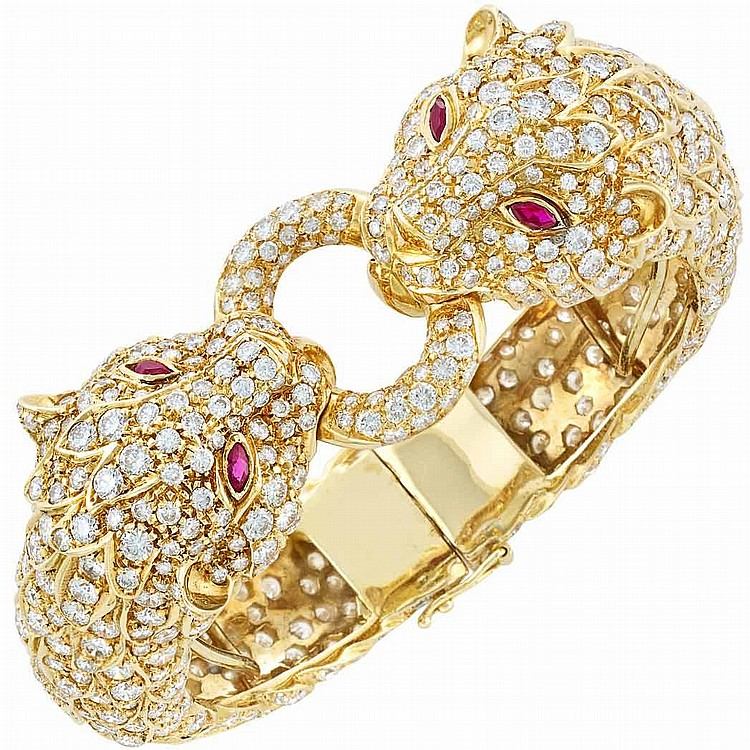 Gold and Diamond Panther Head Bangle Bracelet
