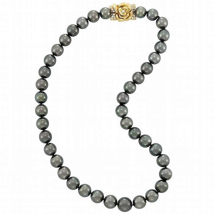 Tahitian Black Cultured Pearl Necklace with Gold and Diamond Flower Clasp, Mikimoto