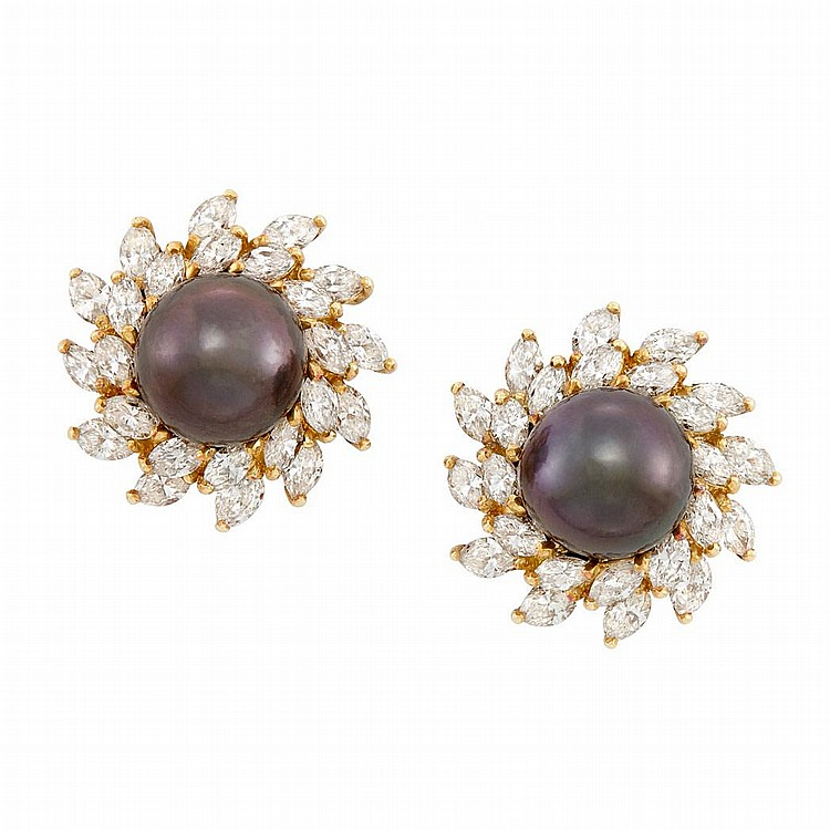 Pair of Gold, Tahitian Black Cultured Pearl and Diamond Earclips