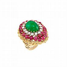 Gold, Cabochon Emerald, Ruby and Diamond Ring