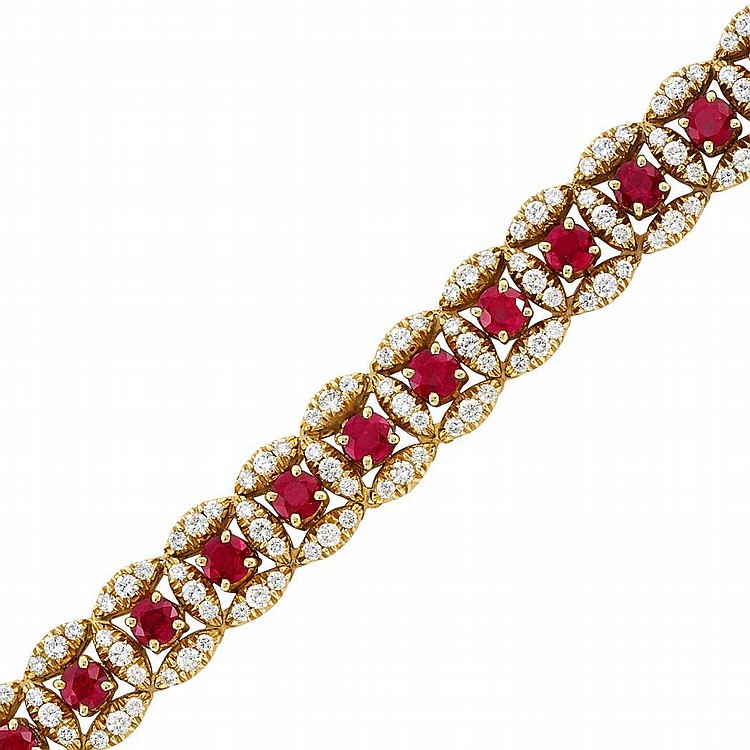 Gold, Ruby and Diamond Bracelet, Oscar Heyman Brothers