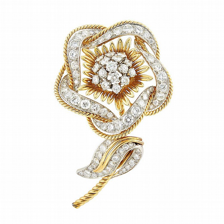 Gold, Platinum and Diamond Flower Clip, France