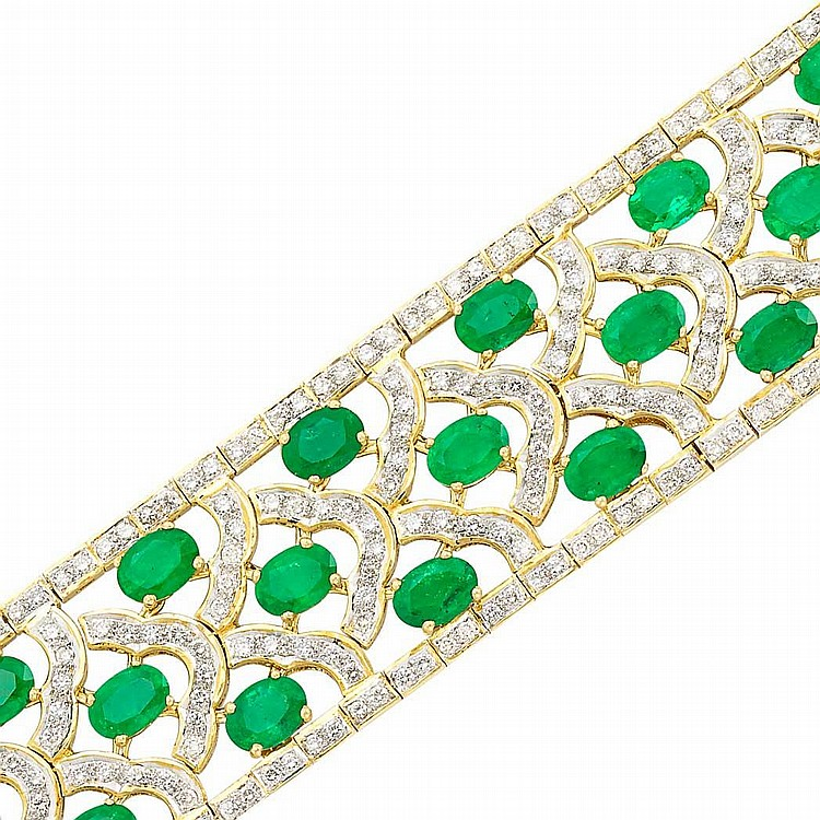 Gold, Emerald and Diamond Bracelet