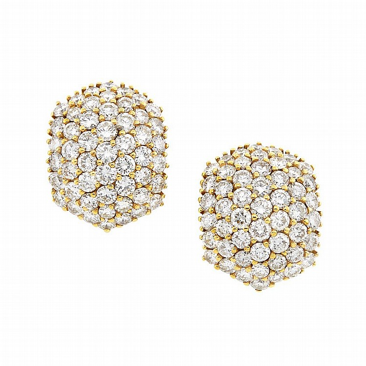 Pair of Platinum, Gold and Diamond Earrings