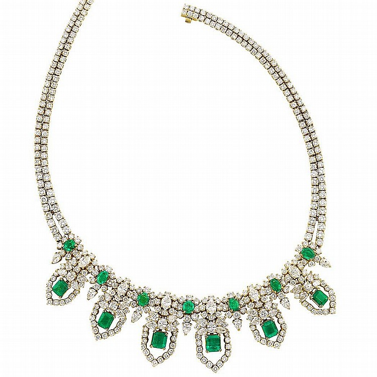Gold, Emerald and Diamond Necklace, Retailed by Black, Starr & Frost
