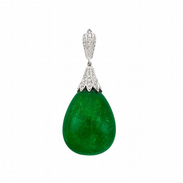 White Gold, Cabochon Emerald and Diamond Pendant