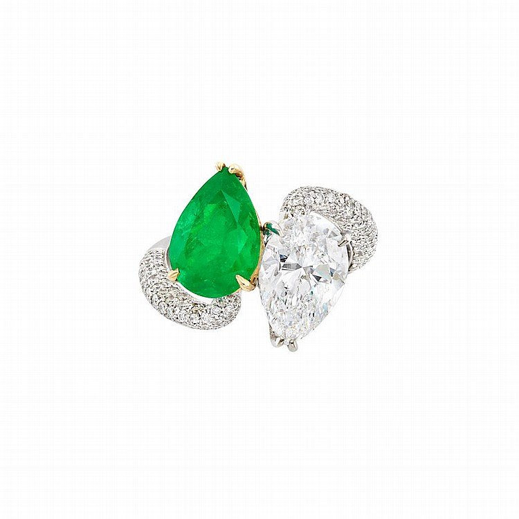 White Gold, Gold, Diamond and Emerald Crossover Ring