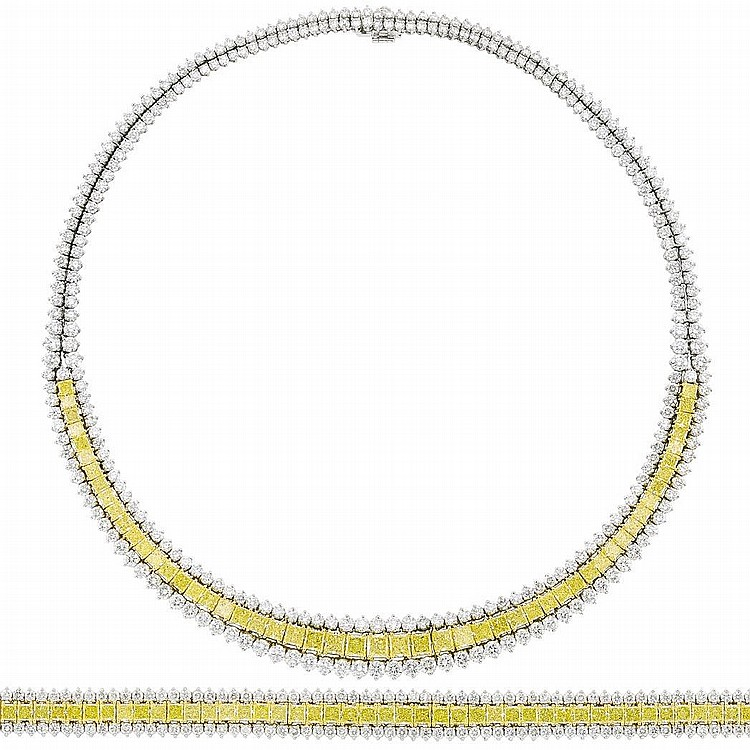 Platinum, Gold, Fancy Colored Yellow Diamond and Diamond Necklace and Bracelet