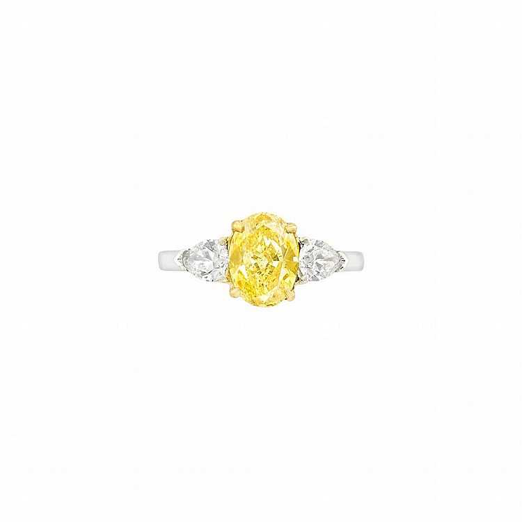 Platinum, Gold, Fancy Vivid Yellow Diamond and Diamond Ring, Bulgari