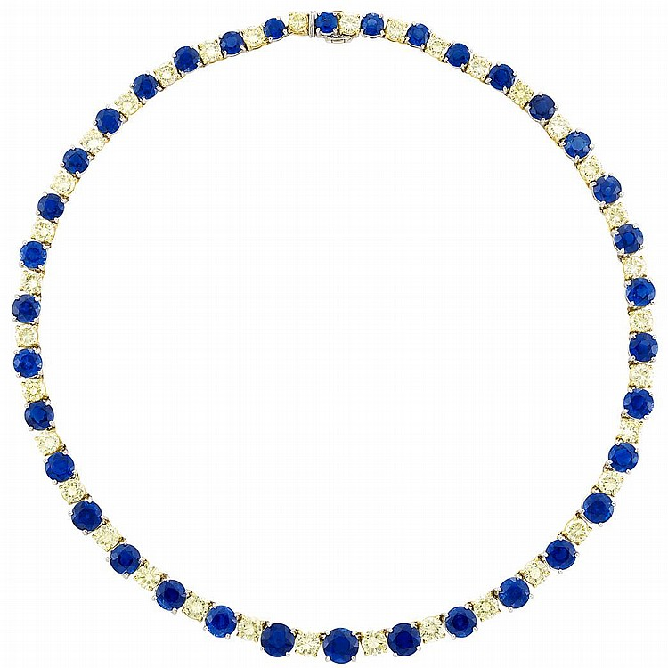 Platinum, Gold, Sapphire and Light Yellow Diamond Necklace