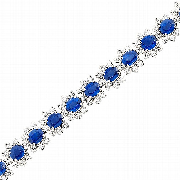 White Gold, Sapphire and Diamond Bracelet