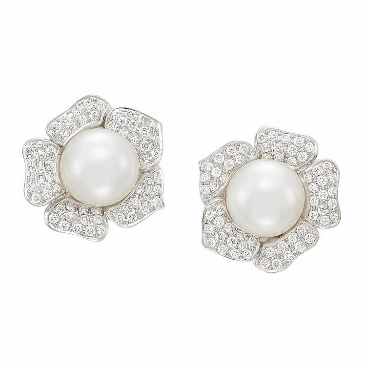 Pair of White Gold, South Sea Cultured Pearl and Diamond Flower Earrings