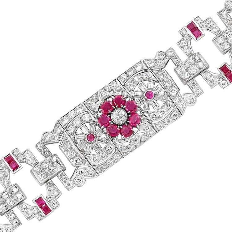 Platinum, Ruby and Diamond Bracelet