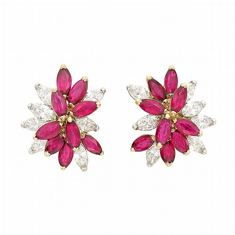 Pair of Platinum, Gold, Ruby and Diamond Cluster Earclips, Oscar Heyman Brothers