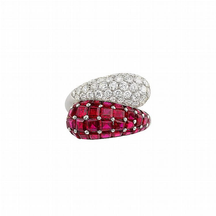 Platinum, Diamond and Ruby Crossover Ring, Oscar Heyman Brothers