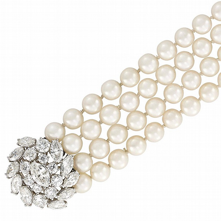 Four Strand Cultured Pearl Bracelet with Platinum and Diamond Clasp, Ruser