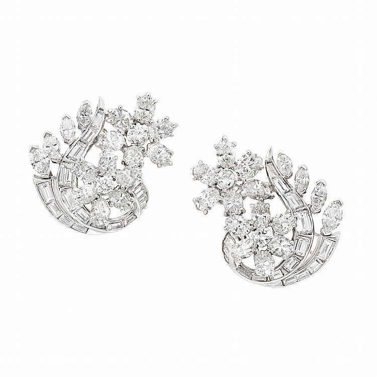 Pair of Platinum and Diamond Earclips