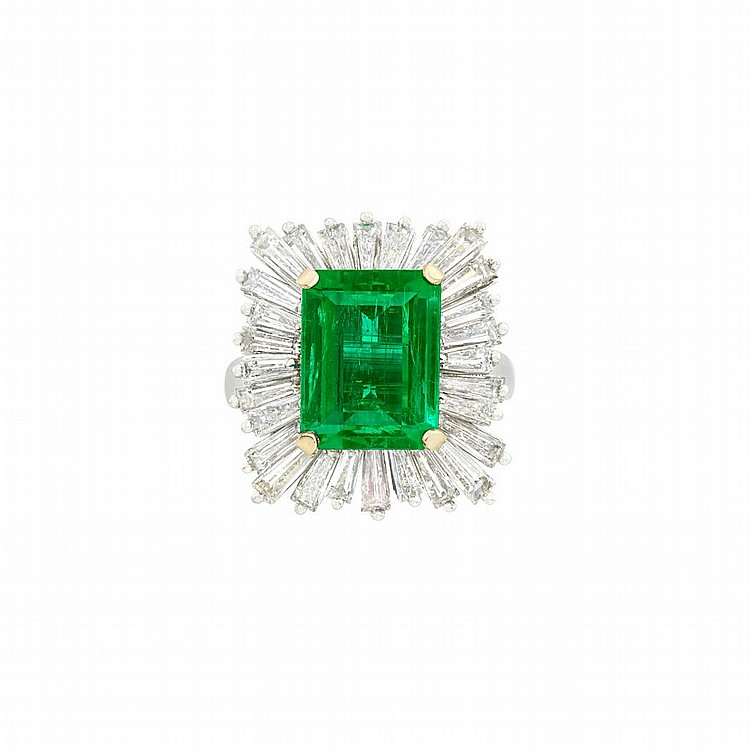 Platinum, Gold, Emerald and Diamond Pendant-Ring