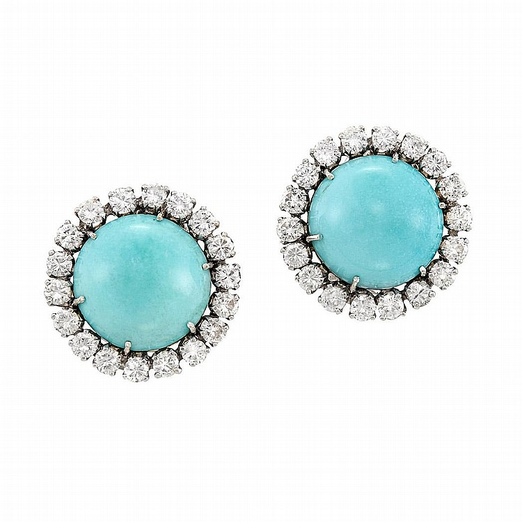 Pair of White Gold, Turquoise and Diamond Earclips