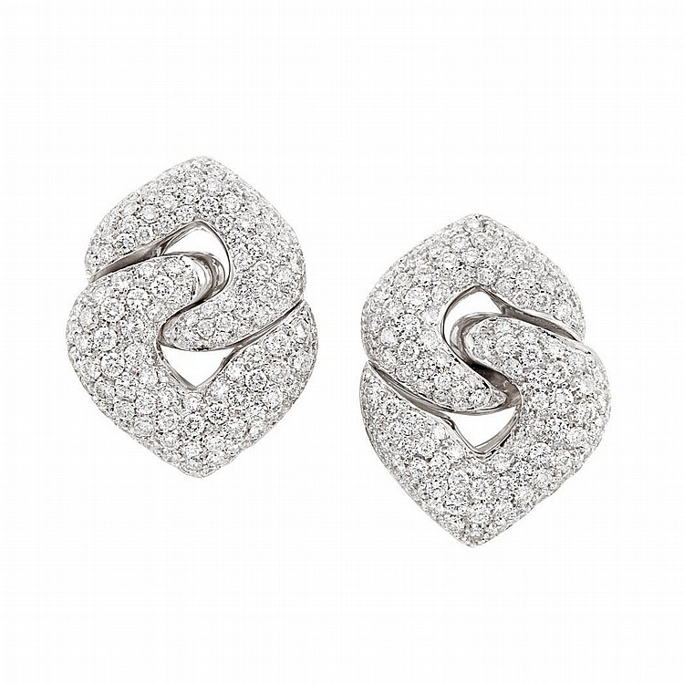 Pair of White Gold and Diamond Earclips