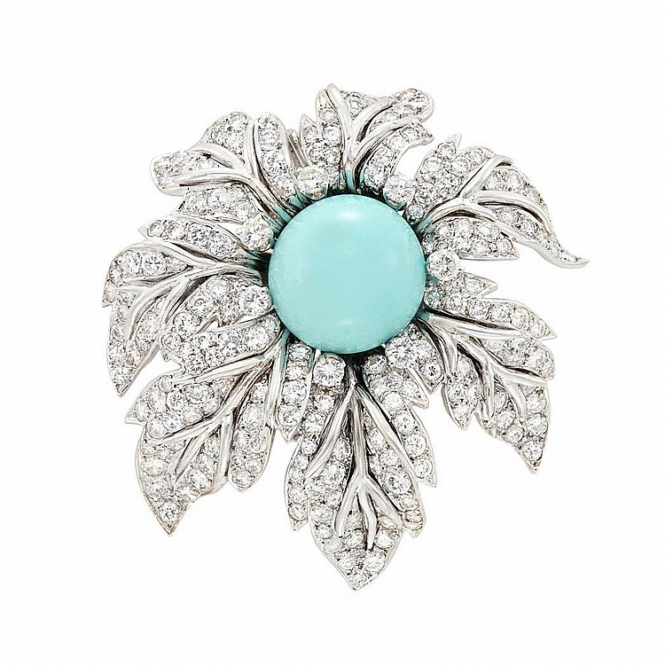 White Gold, Turquoise and Diamond Flower Clip-Brooch