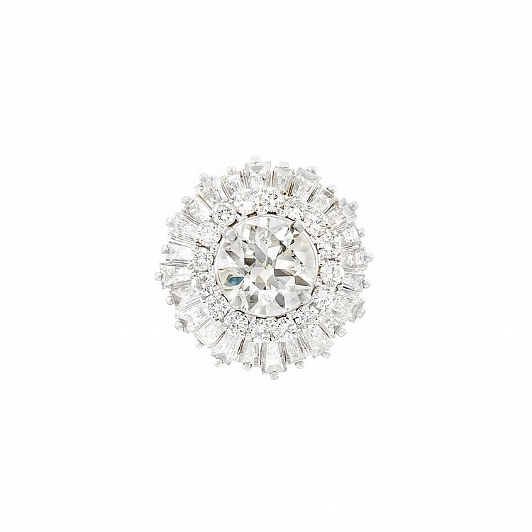 Platinum and Diamond Pendant-Ring