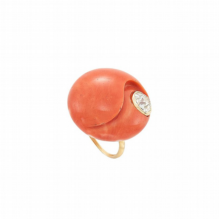 Gold, Carved Coral and Diamond Ring, Sterle, Paris
