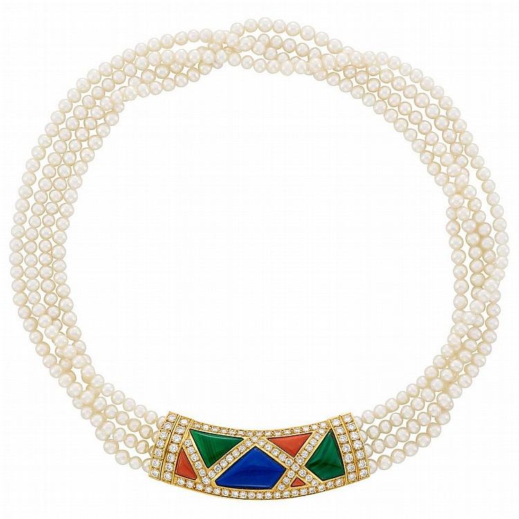 Four Strand Cultured Pearl, Gold, Hardstone and Diamond Necklace, Van Cleef & Arpels