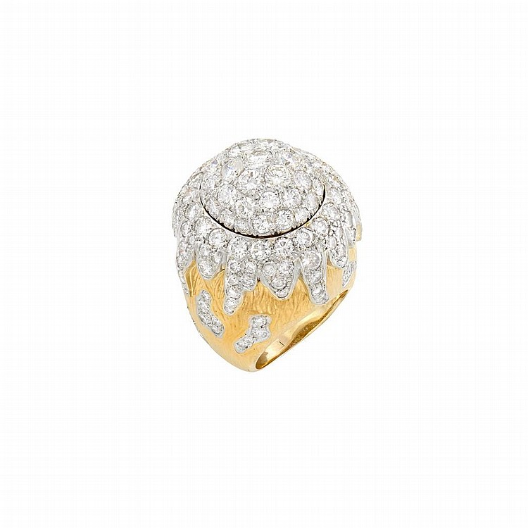 Two-Color Gold and Diamond Dome Ring
