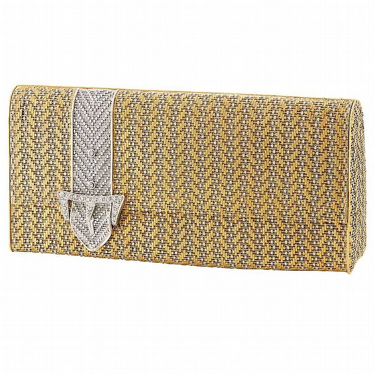 Two-Color Gold and Diamond Evening Purse