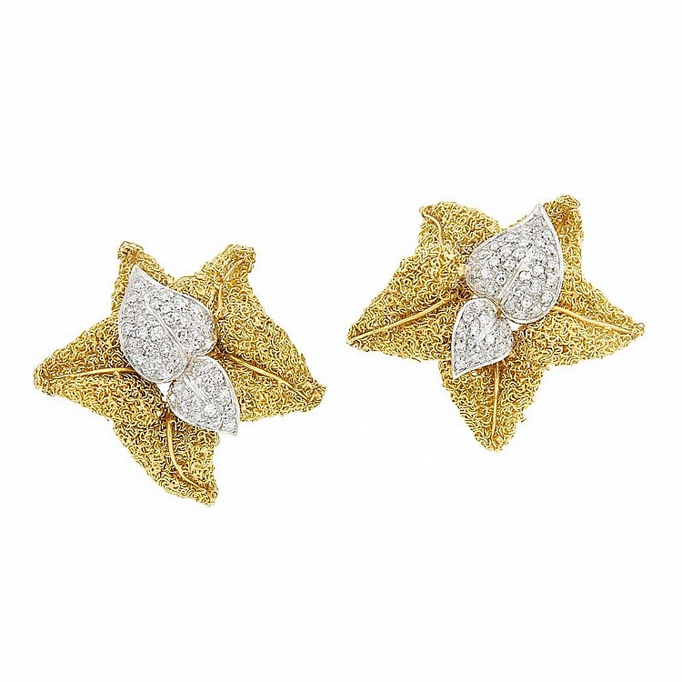 Pair of Two-Color Gold and Diamond Leaf Earclips