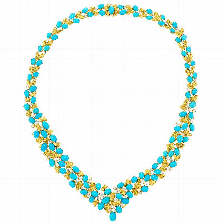 Gold-Plated Gold, Turquoise and Diamond Necklace