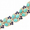 Gold, Turquoise, Diamond and Lapis Bracelet