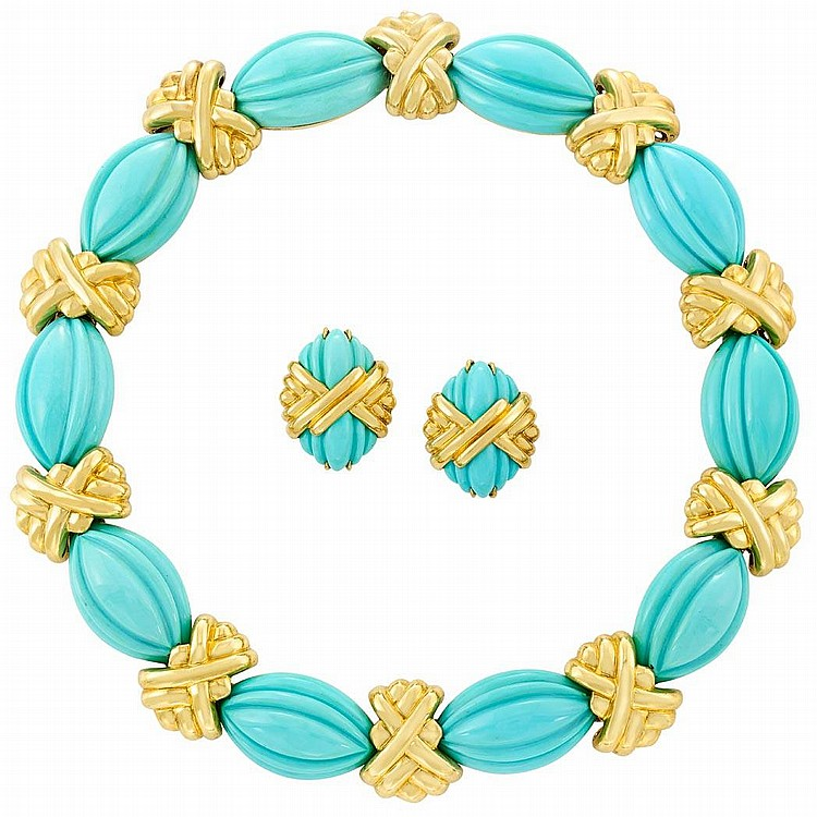 Gold and Carved Turquoise Necklace and Pair of Earclips