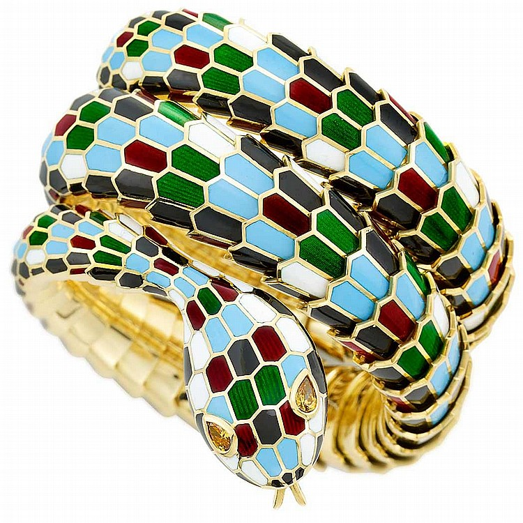Gold, Enamel and Brown Diamond Snake Bracelet