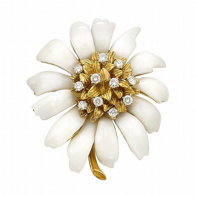 Gold, Carved White Agate and Diamond Flower Clip-Brooch