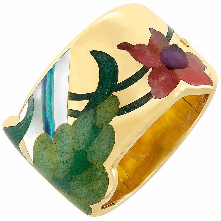 Gold and Hardstone Cuff Bangle Bracelet, Tiffany & Co.