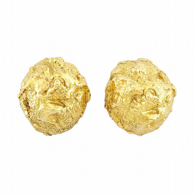 Pair of Nugget Gold Dome Earclips, David Webb