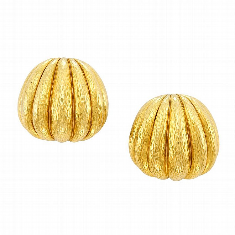 Pair of Hammered Gold Earclips, David Webb