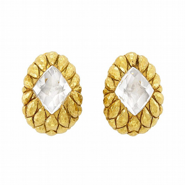 Pair of Gold and Rock Crystal Earclips, David Webb