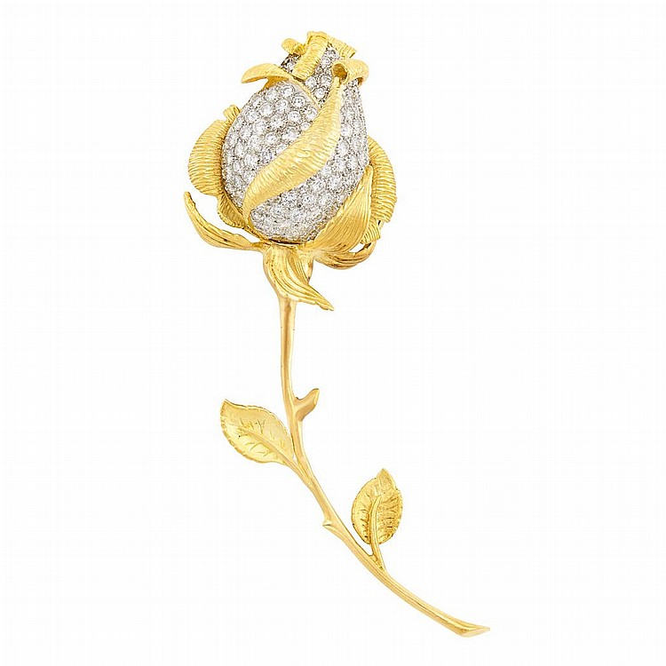 Gold, Platinum and Diamond Rose Brooch, Hammerman Brothers