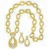 Two-Color Gold and Diamond Pendant-Necklace/Bracelet Combination and Pair of Pendant-Earrings