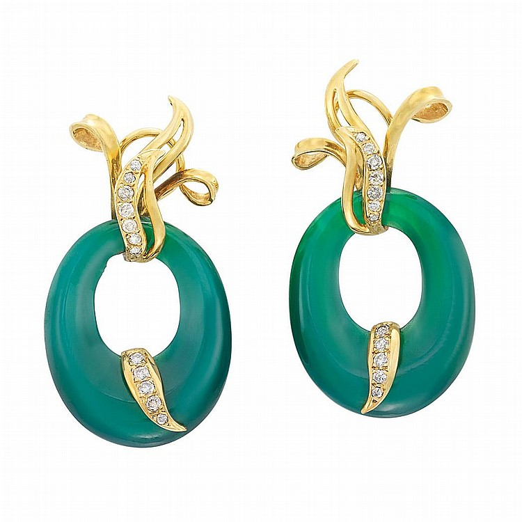 Pair of Gold, Green Onyx and Diamond Hoop Earclips