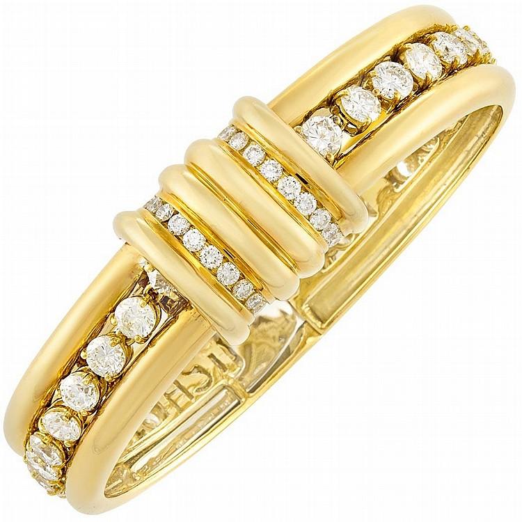 Gold and Diamond Bangle/Bracelet Combination