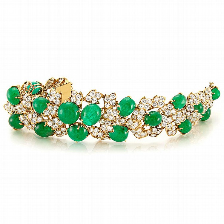 Gold, Cabochon Emerald and Diamond Bracelet, David Webb