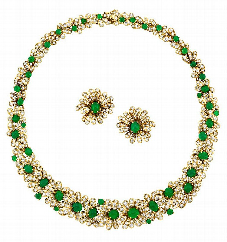Gold, Cabochon Emerald and Diamond Necklace and Pair of Earclips, Van Cleef & Arpels, France
